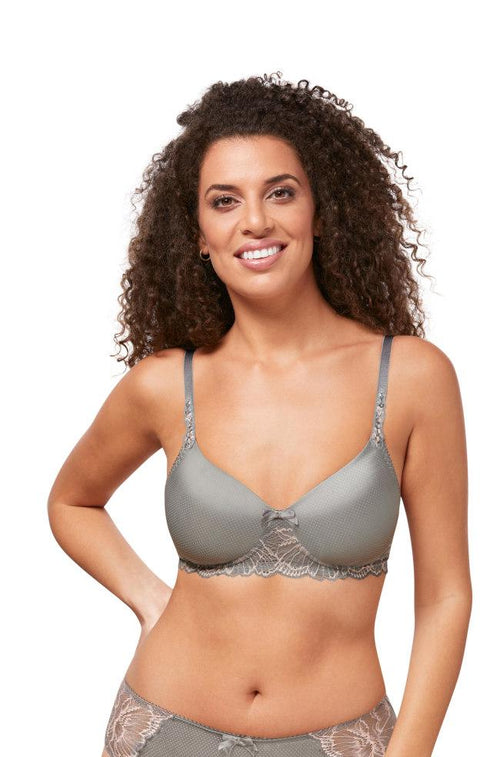 Floral Chic Wirefree Tee Shirt Bra (Urban Grey)