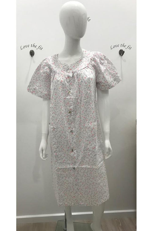 Gianna Short Sleeve 100% Cotton lightweight dressing Gown (Pink or Blue)