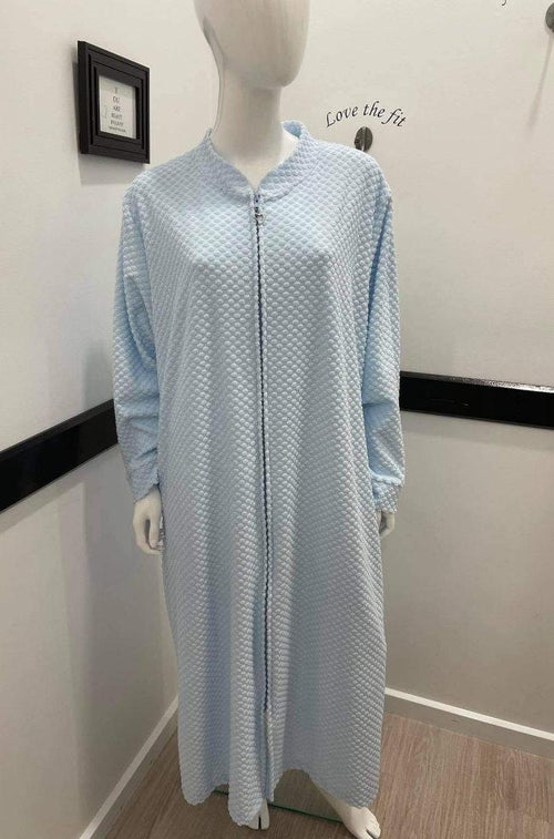 Cotton Zip Robe (Pale Blue)