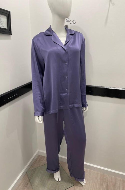 Beautiful Silk Piped PJ Set (Amethyst)