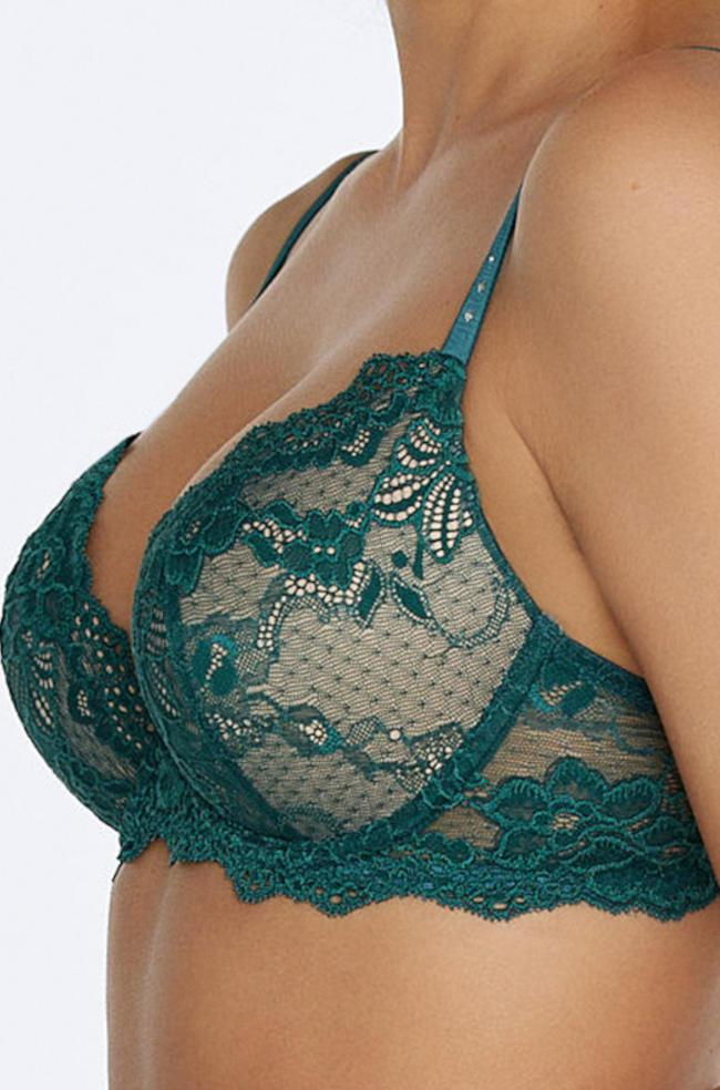 My Fit Lace Push Up Bra (Teal)