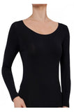 Pure Wool Ribbed Long Sleeve Thermal (Black or Ivory)