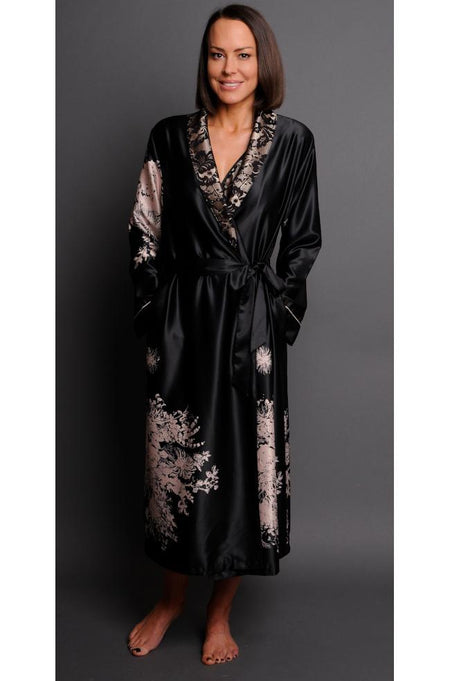 Janet Short Sleeve Zip Dressing Gown (Navy, Blue & Pink)