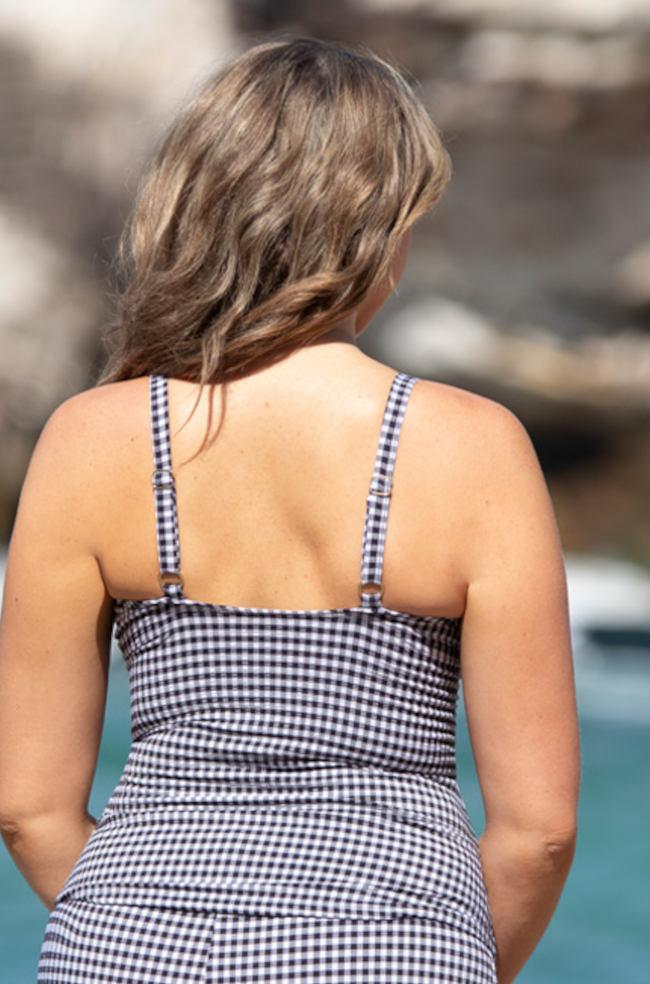 Gingham Peekaboo Tankini Top (Gingham)