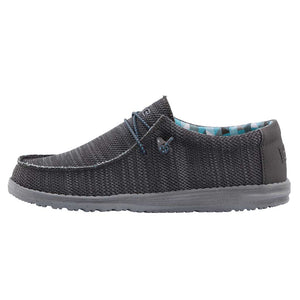 Dude Wally Sox Charcoal Mens Slip On Elastic Lace Knit Fabric Canvas Shoes