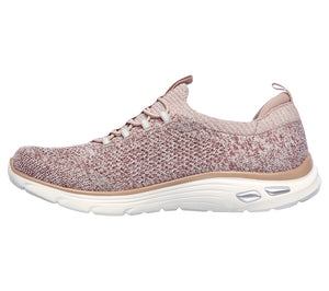 Skechers 149007/ROS Pink Navy Womens Casual Comfort Elasticated Laced Trainers