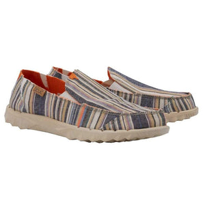 Hey Dude Farty Chambray Stripes Orange Mens Casual Comfort Canvas Shoes