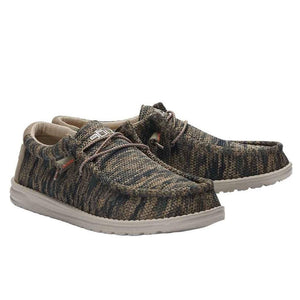 Dude Wally Sox Woodland Camo Mens Slip On Elastic Lace Knit Fabric Shoes