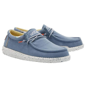 Hey Dude Wally Washed Bluestone Yellow Blue Casual Comfort Canvas Deck Shoes