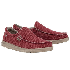 Hey Dude Mikka Braided Pompeian Red Mens Slip On Canvas Shoes