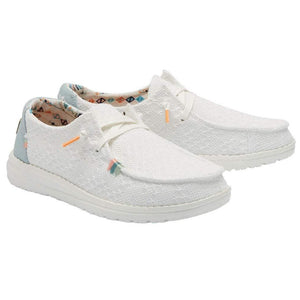Hey Dude Wendy Boho White Crochet Women's Slip On Canvas Relaxed Fit Shoes