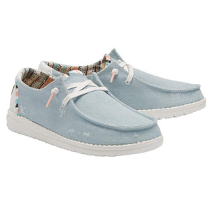 Hey Dude Wendy Boho Light Denim Women's Slip On Canvas Relaxed Fit Shoes