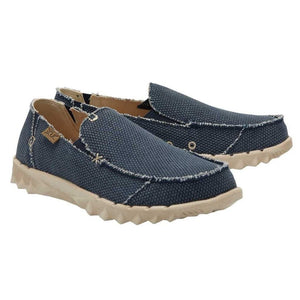 Dude Farty Braided Night Blue Mens Slip On Organic Cotton Canvas Shoes