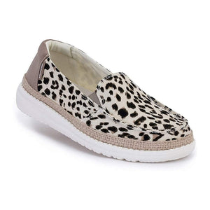 Hey Dude Lena Leopard Angora Womens Slip On Relaxed Deck Canvas Shoes