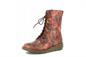 Heavenly Feet Walker2 Berry Floral Women's Lace Up Inside Zip Casual Wedge Boots