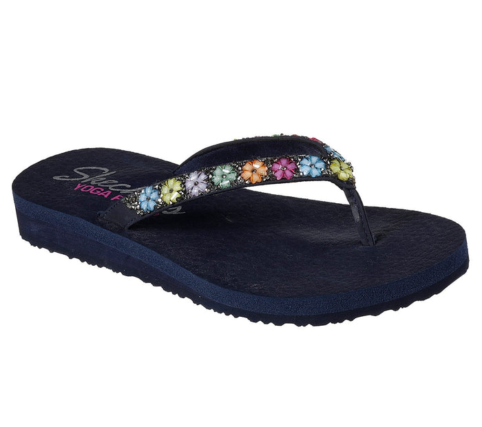 Skechers 31559 Navy Womens Floral Daisy Design Summer Flip Flops Toe Post Sandals