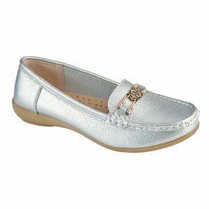 Jo & Joe Santa Cruz Slip Silver On Real Leather Loafers Moccasins Shoes Casual