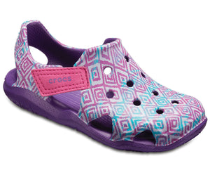 Crocs Swiftwater Wave Graphic Kids Girls Casual Clog Shoes Pattern Amethyst Pink