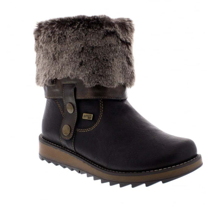 Remonte D8874-01 Black Womens Casual Comfort Water Resistant Faux Fur Ankle/Calf Boots