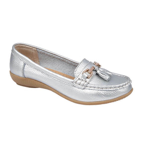 Jo & Joe Nautical Silver Slip On Leather Loafers Moccasin Casual Shoes