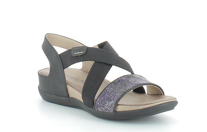 Heavenly Feet Nightingale Womens Flat Cross Over Summer Sandals Black