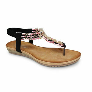 Lunar Antigua Womens Interwoven Leather Summer Sandals Gold Chain Toe Post Black