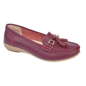 Jo & Joe Nautical Plum Womens Slip On Leather Loafers Moccasins Casual Shoes