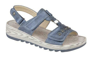 Boulevard L5056C Metallic Blue Women's Touch Fastening Lightweight Sandals Shoe Centre Dawlish
