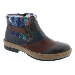 Rieker Z6782-45 Womens Ladies Ankle Boots Knitted Design Warm Lining Zip Multi