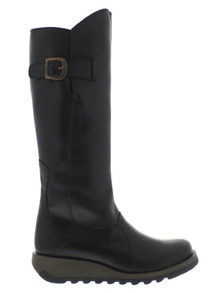 Fly London Mol 2 Black Womens Real Leather Knee High Boots Zip Low Wedge