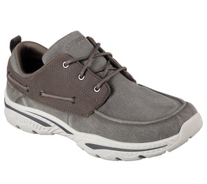 Skechers 65347 Taupe Mens Lace Up Casual Comfort Canvas Boat Shoes