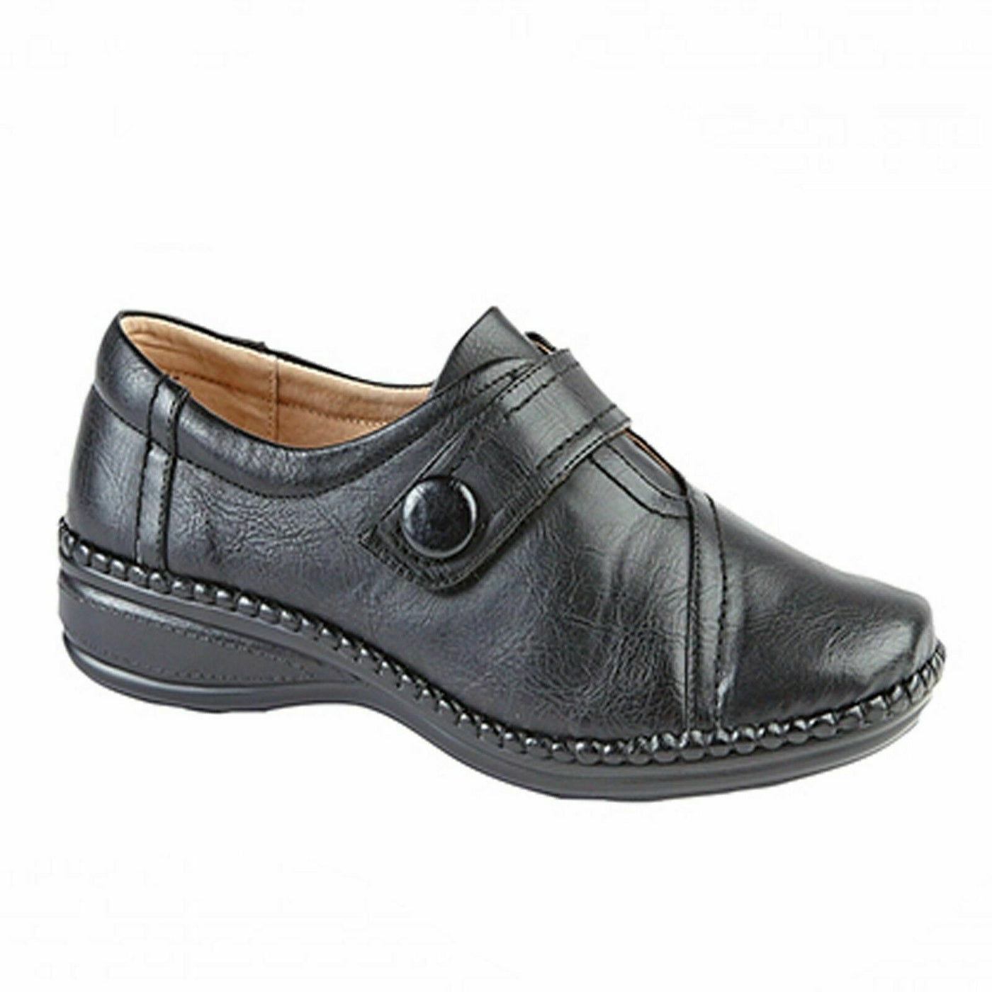 LADIES SIZE 3 4 5 6 7 8 9 BLACK LEATHER LOAFER CASUAL SLIP ON WIDE FIT EEE SHOES