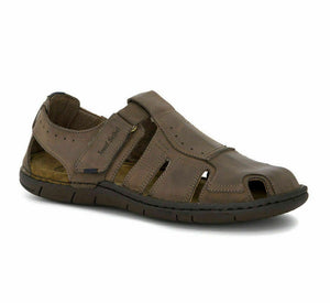 Josef Seibel Paul 15 Mens Gents Real Leather Sandals Touch Fastening Bark Brown
