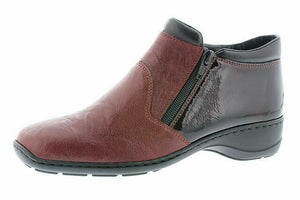 RIEKER 58393-35 DORO LADIES ZIP UP ANKLE BOOT WINE Size EU37