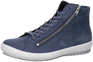 Legero 2-00825-78 Blue Womens Lace Up Zip Nubuck Leather Casual High Top Trainer