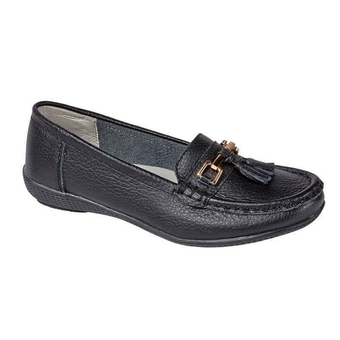 Jo & Joe Nautical Black Women's Slip On Leather Loafers Moccasin Casual Shoes