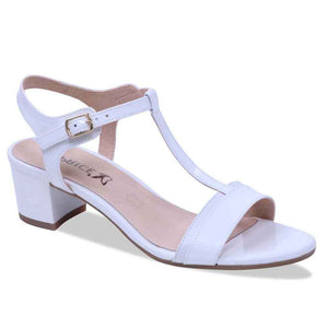 Caprice 9-28215-20 125 White Womens Real Leather T-Bar Sandals Block Heel Buckle