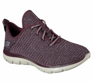 Skechers 12773 Womens Comfy Knit Lace Up Trainers Memory Foam Shoes Plum