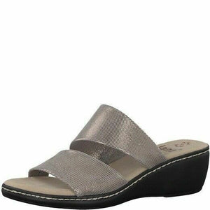Jana 8-27215-20 Womens Clog Wedge Slip on Mule Leather Bronze Metallic  G Fit