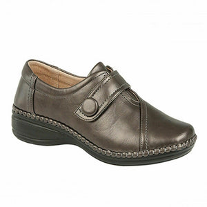 Boulevard L436FS Womens Extra Wide EEE Smart Comfy Shoes Touch Fastening Pewter Shoe Centre Dawlish