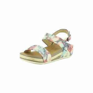 Heavenly Feet Nadia Pink Floral Women's Buckle Fastening Heel Strap Sandals