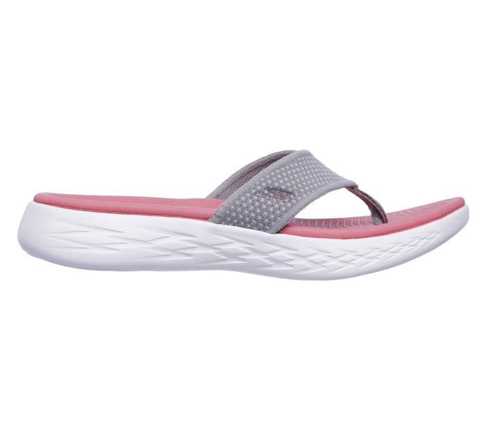 Skechers 15300 Grey/Pink Women's On The Go 600 Comfort Flexible Flip Flops