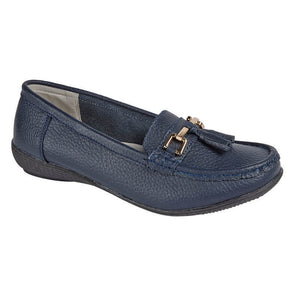 Jo & Joe Nautical Navy Womens Slip On Leather Loafers Moccasins Casual Shoes