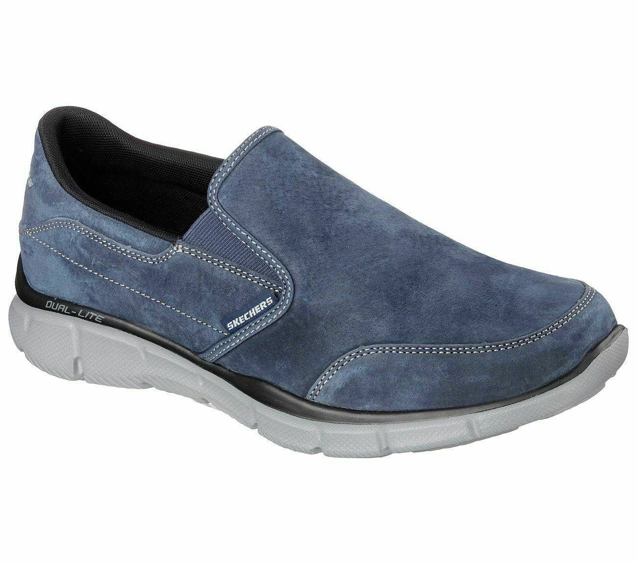 Skechers 51502 Navy Mens Slip On Suede Memory Foam Insole Casual Shoes