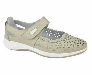 Boulevard L9552BE Stone Womens Wide Fitting EEE Casual Comfy Shoes Leather