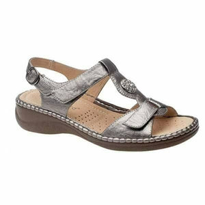 Boulevard L594FS Pewter Women's Buckle Touch Fastening Lightweight Sandals