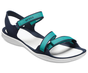 Crocs Swiftwater Webbing Teal Womens Strappy Flats Walking Casual Summer Sandals