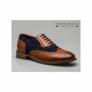 London Brogues Gatsby Tan / Navy Men's Leather Smart Lace Up Brogue Shoes