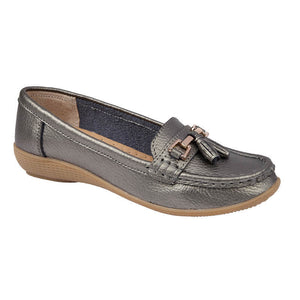 Jo & Joe Nautical Gun Metal Womens Slip On Leather Loafers Moccasin Casual Shoes