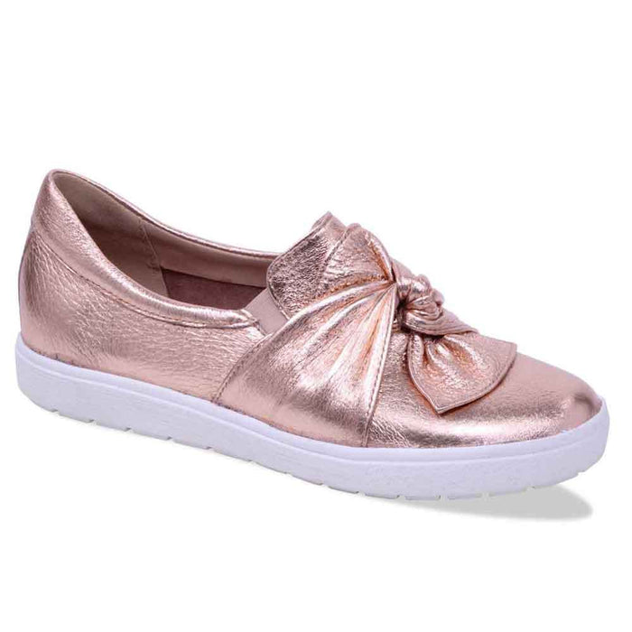 Caprice 9-24602-20 907 Rose Gold Women's Leather Bow Flats Pumps